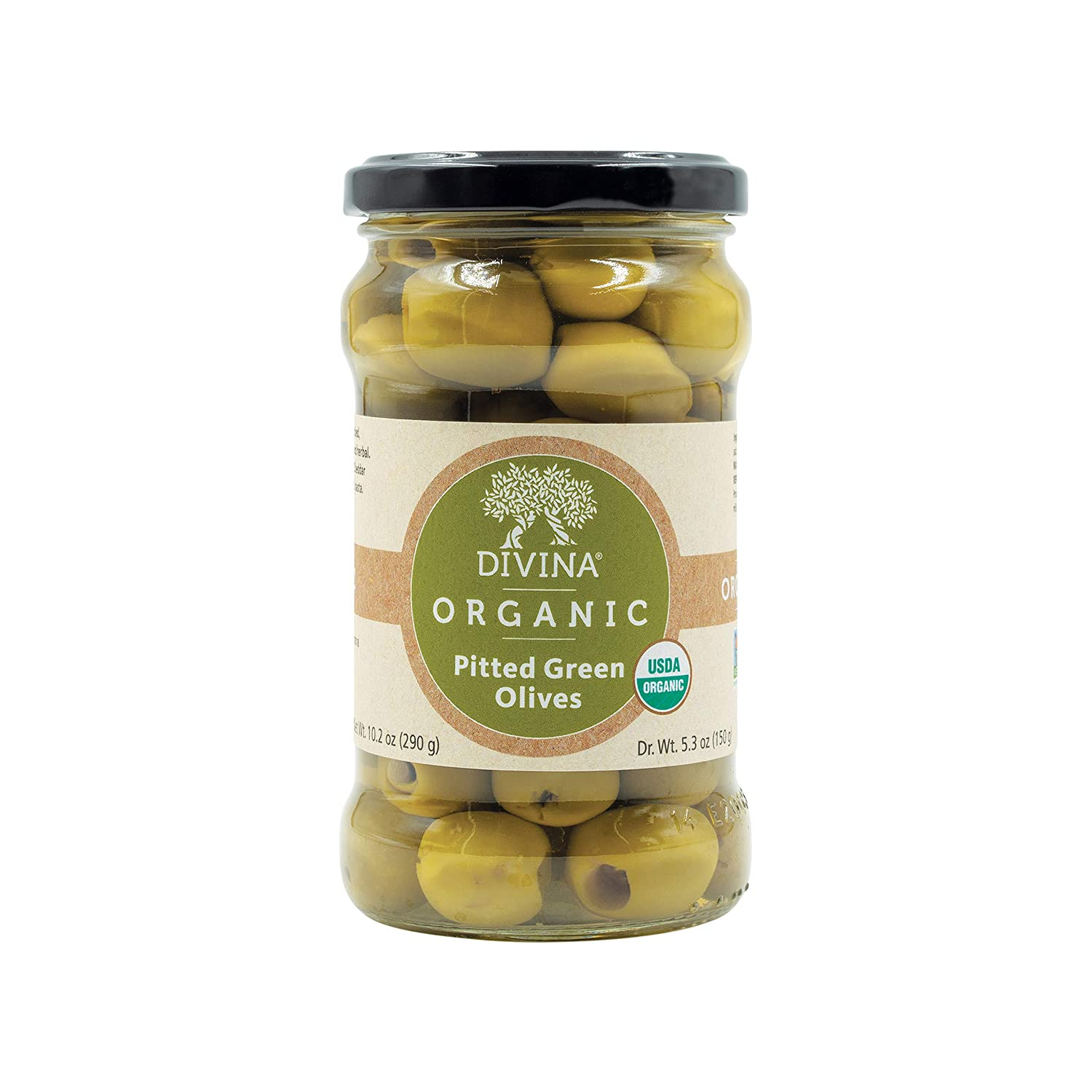 Divina Organic Pitted Green Olives, 10.2 Ounce Net Weight