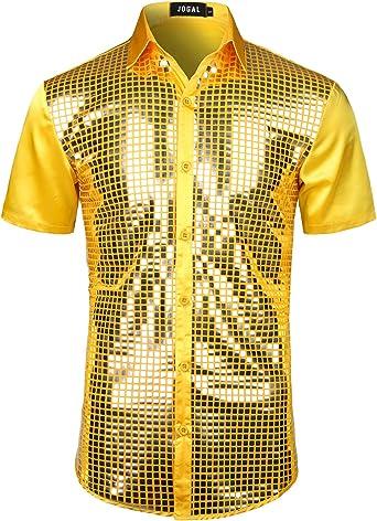 JOGAL - Camisa de lentejuelas para hombre, manga corta, discoteca, fiesta: Amazon.es: Ropa y accesorios