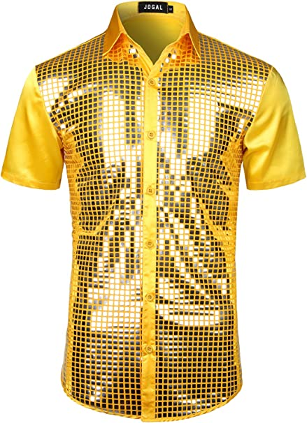 Jogal - Camisa de vestir para hombre, lentejuelas plateadas, manga corta, botones y botones de los años 70: Amazon.es: Ropa y accesorios