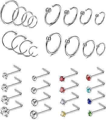 Amazon.com: Jstyle - 32 piercings de acero inoxidable para ...