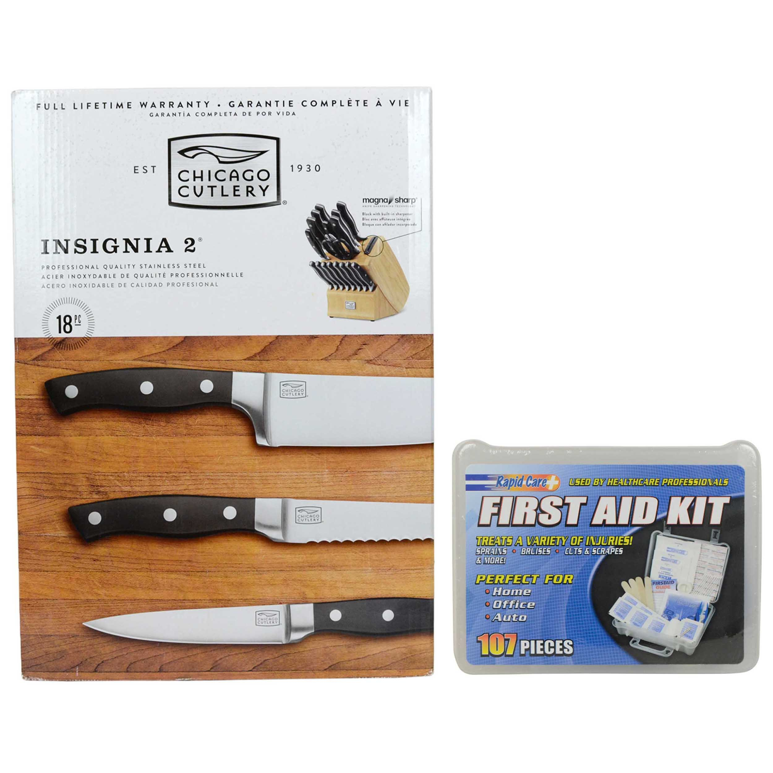 Chicago Cutlery 18pc Insignia2 Knife Block Set & (1) Rapid Care 107pc First Aid Kit by Chicago Cutlery & Rapid Care