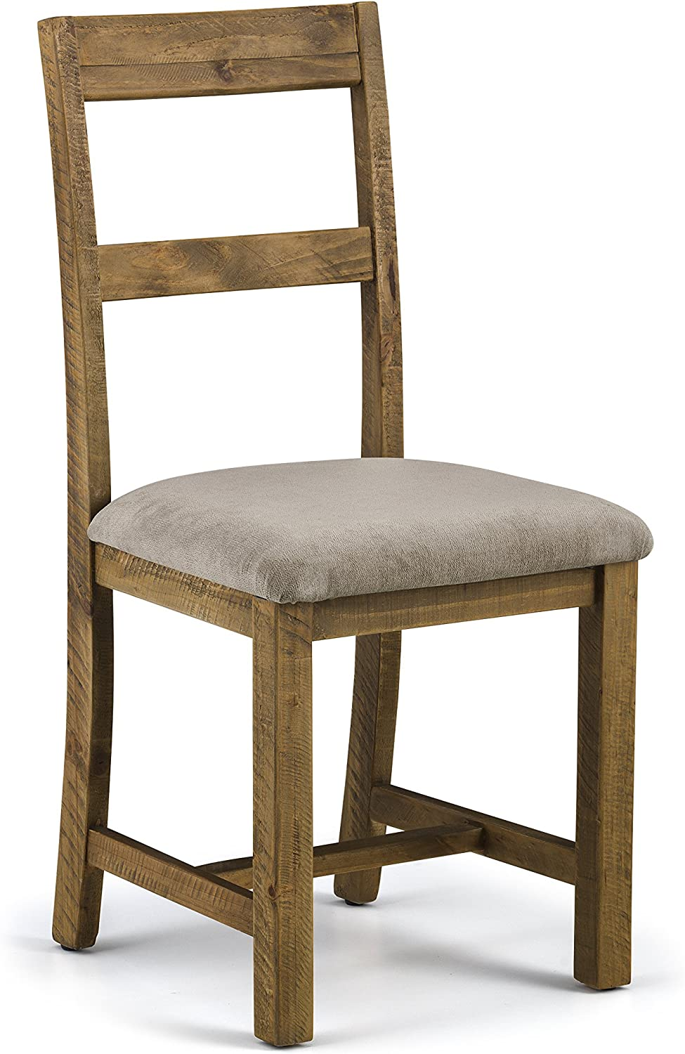 Julian Bowen Set of 2 Aspen Dining Chairs, Reclaimed Pine, Chenille, one size