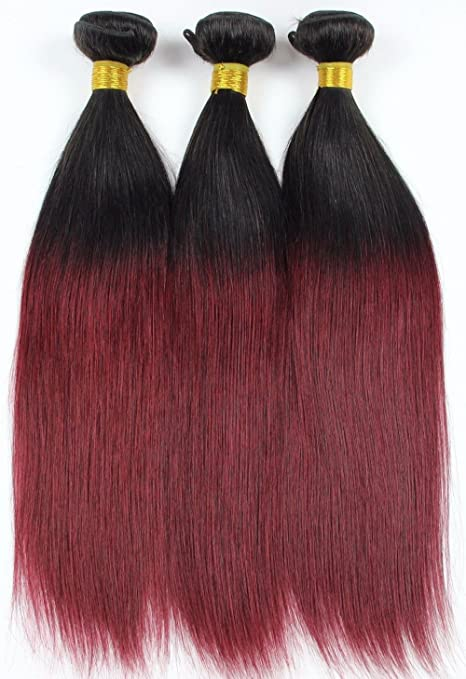 Lmhair Ombre Burgundy Hair Extensions Black To Red Straight Weave