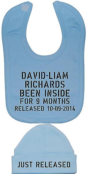 Personalizable con nombre y fecha de nacimiento sido en el interior para 9 meses bebé baberos y sólo en el mercado gorro 0 A 12 meses: Amazon.es: Ropa y ...