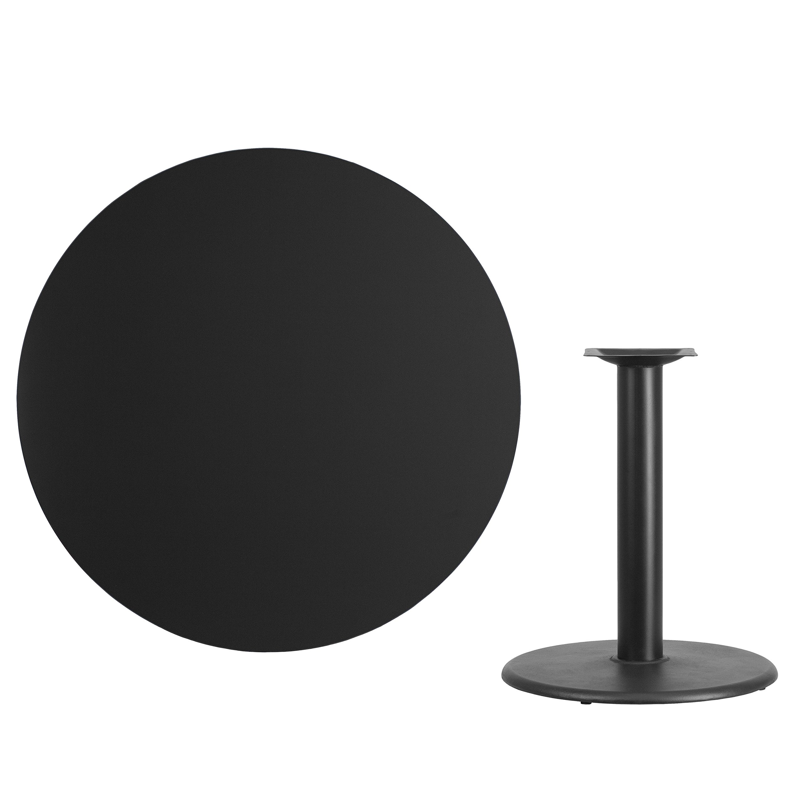 My Friendly Office MFO 42'' Round Black Laminate Table Top with 24'' Round Table Height Base