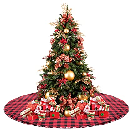 celivesgg 48 christmas tree skirt red and black buffalo check tree skirt double layers a