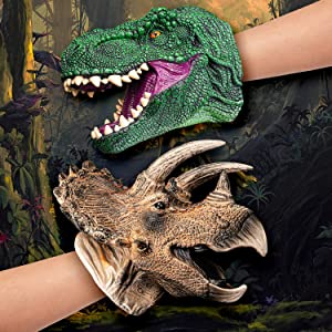 muscccm Dinosaur Hand Puppet Head, Non-Toxic Soft Rubber Realistic Dinosaur Toys for Kids, Suitable for Role Play Storytelling Teaching Cake Topper Decoration Halloween Setting