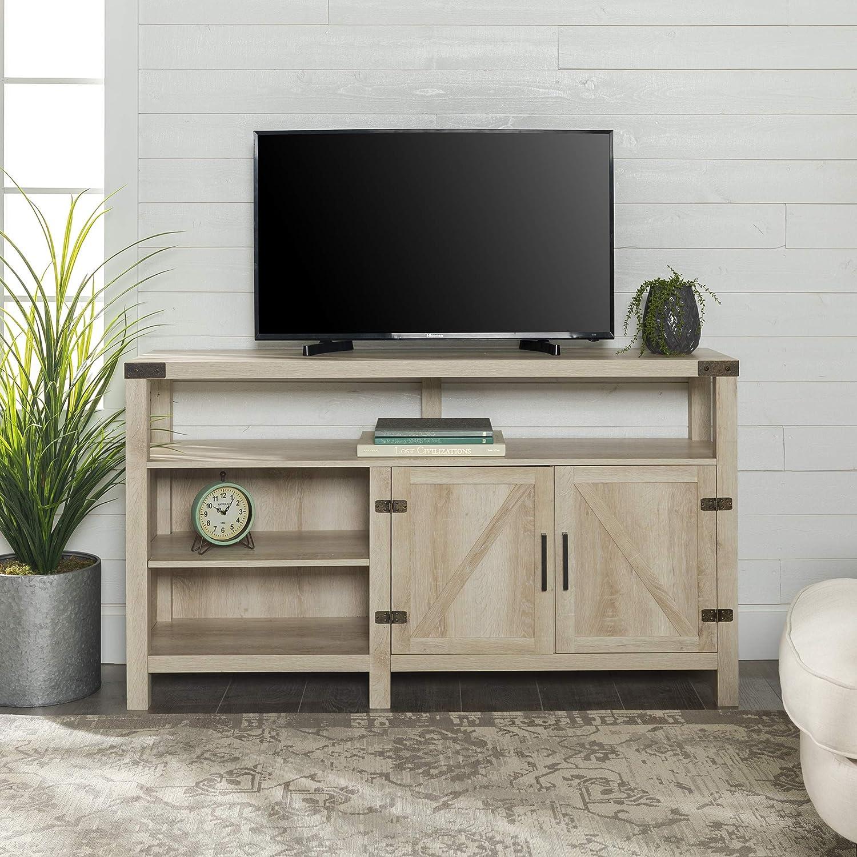 """WE Furniture W58BDHBWO Tall TV Stand 58"""" White Oak"""