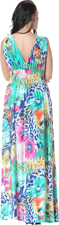 Jusfitsu Womens V-Neck Floral Printed Beach Boho Maxi Dress Plus Size