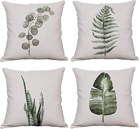 Amazon Com Yeeju Set Of 4 Throw Pillow Covers Decorative Green Fern Leaf Cushion Covers Square Cotton Linen Outdoor Couch Sofa Home Pillow Covers 20x20 Inch Home Kitchen