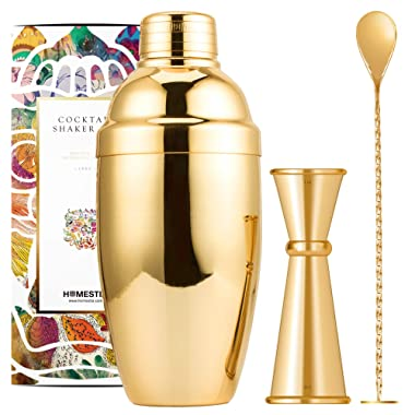 Homestia 20oz Cocktail Shaker Bar Set-Martini Shaker Built-in Strainer Bartender Kit with Double Jigger and Mixing Spoon-Professional Stainless Steel Bar Tool,Gold