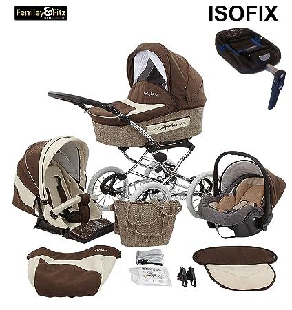 Fitz & Ferriley Avinion 4 in 1 Cochecito combinado Nostalgia (base ISOFIX asiento del coche, cubierta para la lluvia, mosquitero 2 colores) Muffin de ...