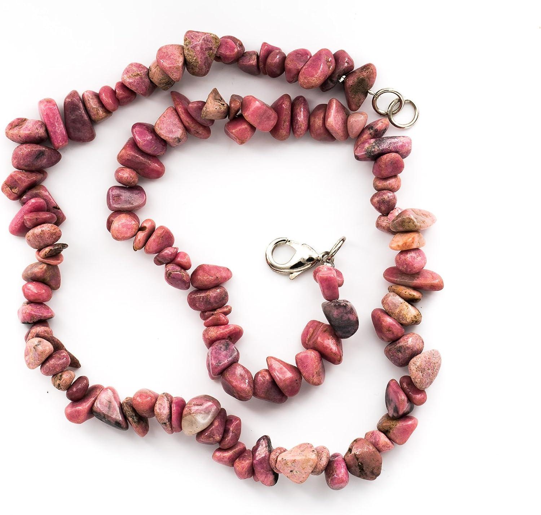 Taddart Minerals - Collar de rodonita con piedra preciosa natural (45 cm, hecho a mano), color rosa y negro