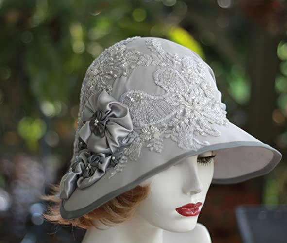 Amazon com: Womens Vintage 20s Style Fancy Formal Wide Brim Cloche