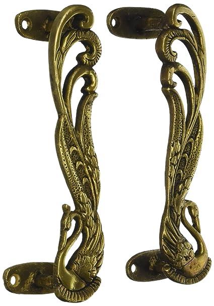 Unravel India Peacock Brass Door Handle(Set Of 2)