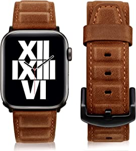 Hallsen Compatible with Leather Apple Watch Bands 44mm 42mm, Genuine Leather Strap for Apple Watch Leather Link Band Replacement Bands for iWatch Series 6/SE/5/4/3/2/1 (Retro Brown (Suede), 42/44mm)