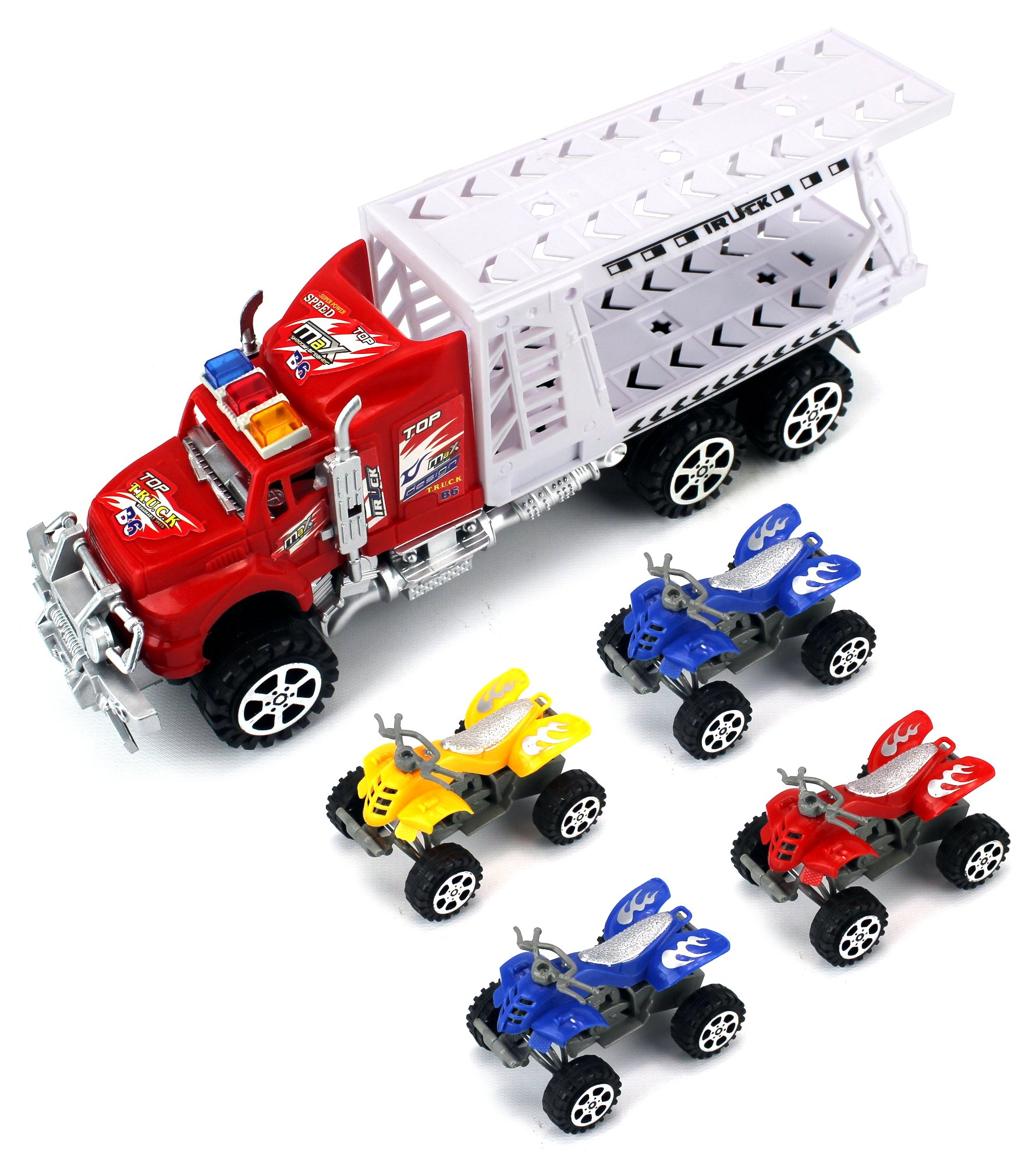 ATV Transporter Trailer Children's Friction Toy Truck Ready To Run w/ 4 Toy ATVs, No Batteries Required (Colors May Vary)