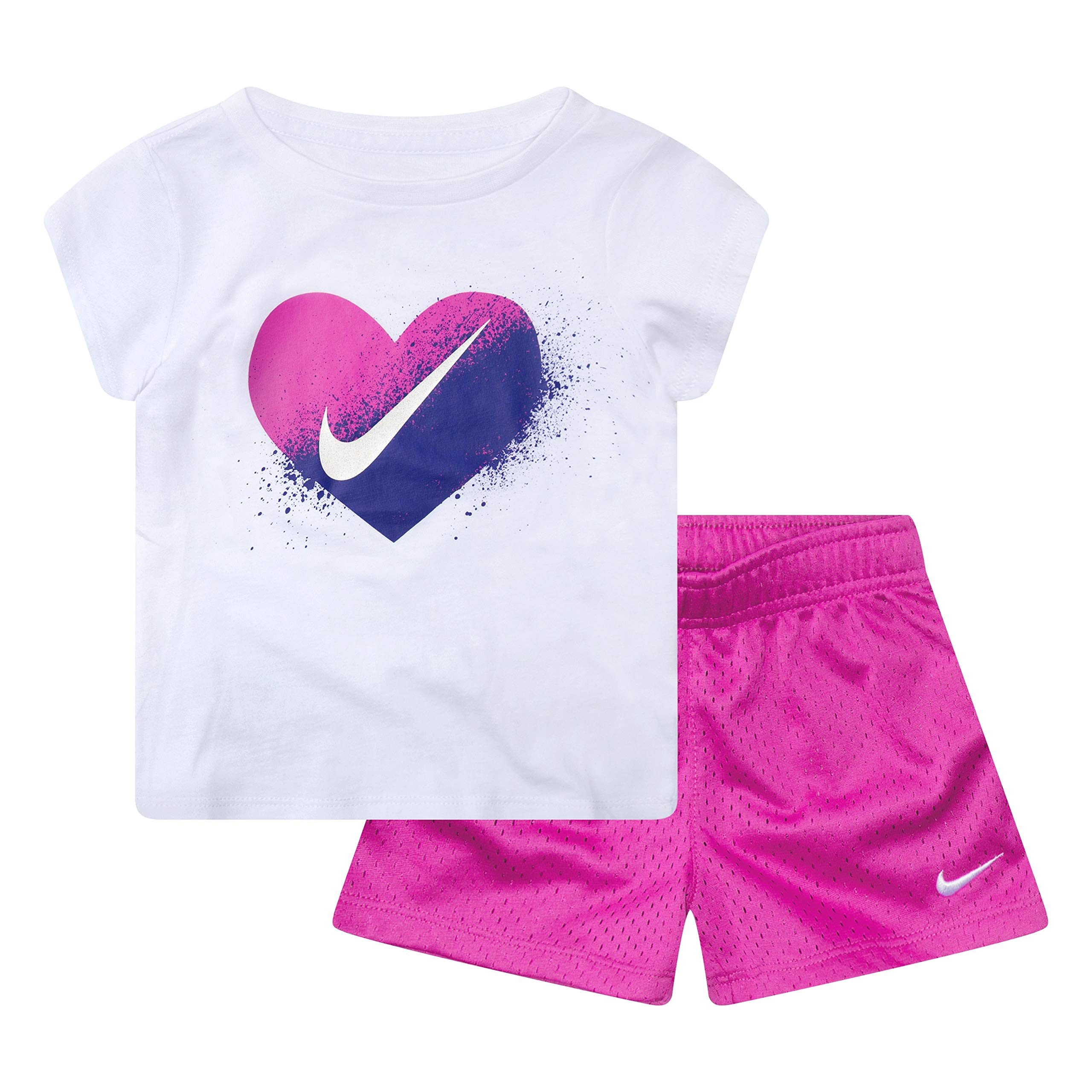 NIKE Children's Apparel Girls' Toddler Graphic T-Shirt and Shorts 2-Piece Outfit Set, Hyper Magenta/White, 3T