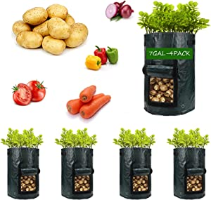 Potato-Grow-Bags,4 Pack 7 Gallon Garden Vegetable Planter with Handles&Access Flap for Vegetables,Tomato,Carrot, Onion,Fruits,Potatoes-Growing-Containers,Ventilated Plants Planting Bag