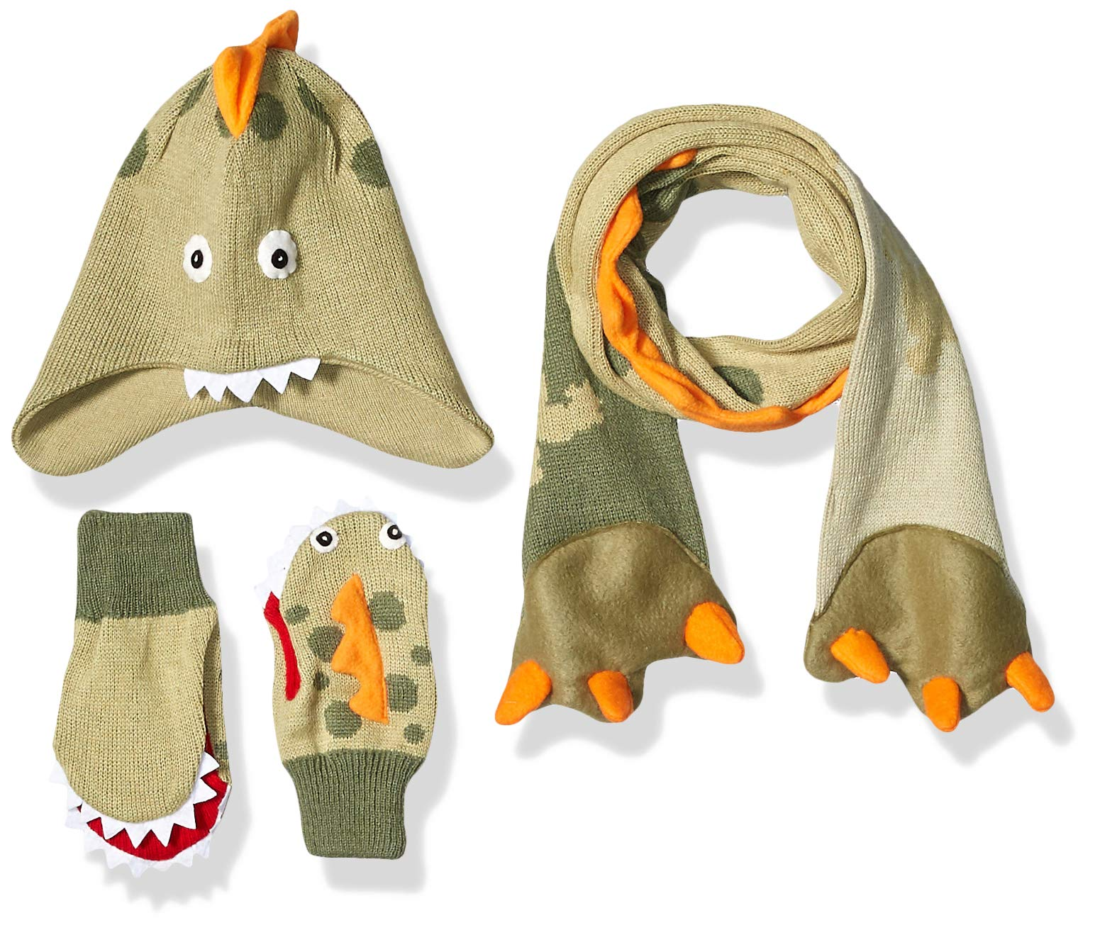 Kidorable Boys' Little Dino Hat Scarf Mittens Set, Green, Medium