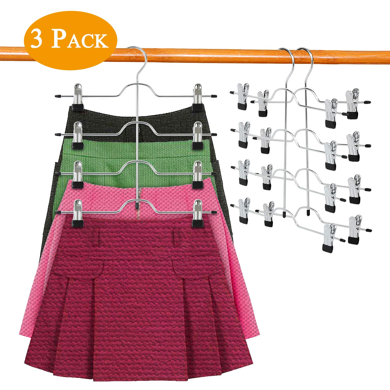 DOIOWN Skirt Hangers 4 Tier Pants Hangers Space Saving Hangers Closet Organizer for Skirt, Pants(3 Pieces) (3 Pieces) by DOIOWN