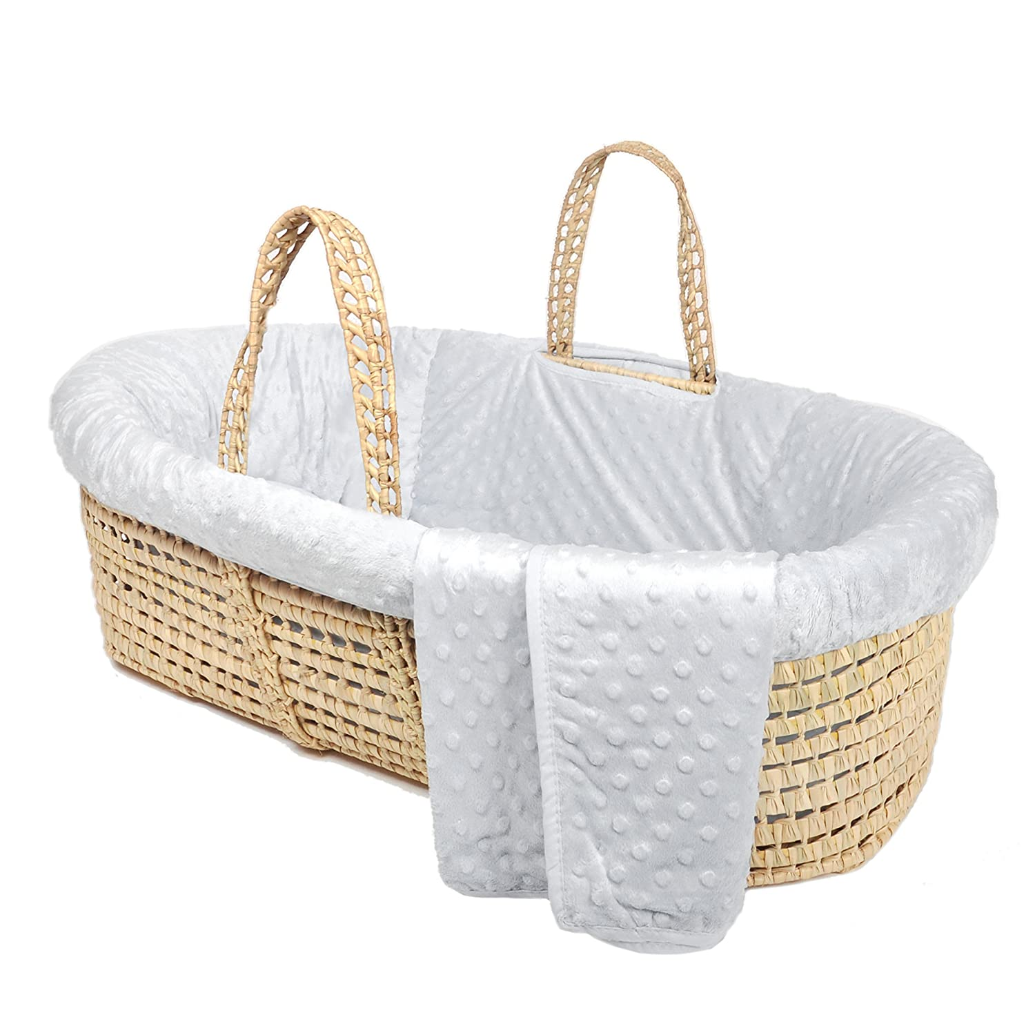 Tadpoles Minky Dot Moses Basket & Bedding Set, Grey Sleeping Partners MBSTVL023