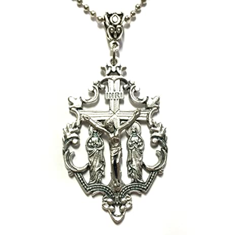 Amazon crucifix with virgin mary and mary magdalene at foot of crucifix with virgin mary and mary magdalene at foot of cross pendant charm with necklace catholic mozeypictures Gallery