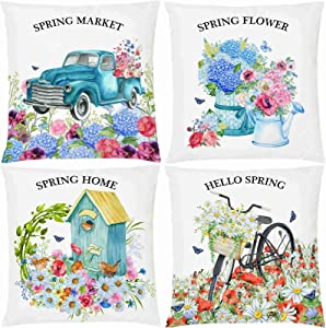 "AOKDEER Blue Pink Purple Flowers Decorative Pillow Covers, Hello Spring Hydrangeas Floral Bird Couch Throw Pillow Covers 18""x18"", Harvest Holiday Lumbar Couch Pillow Cases Home Decor for Sofa Set of 4"