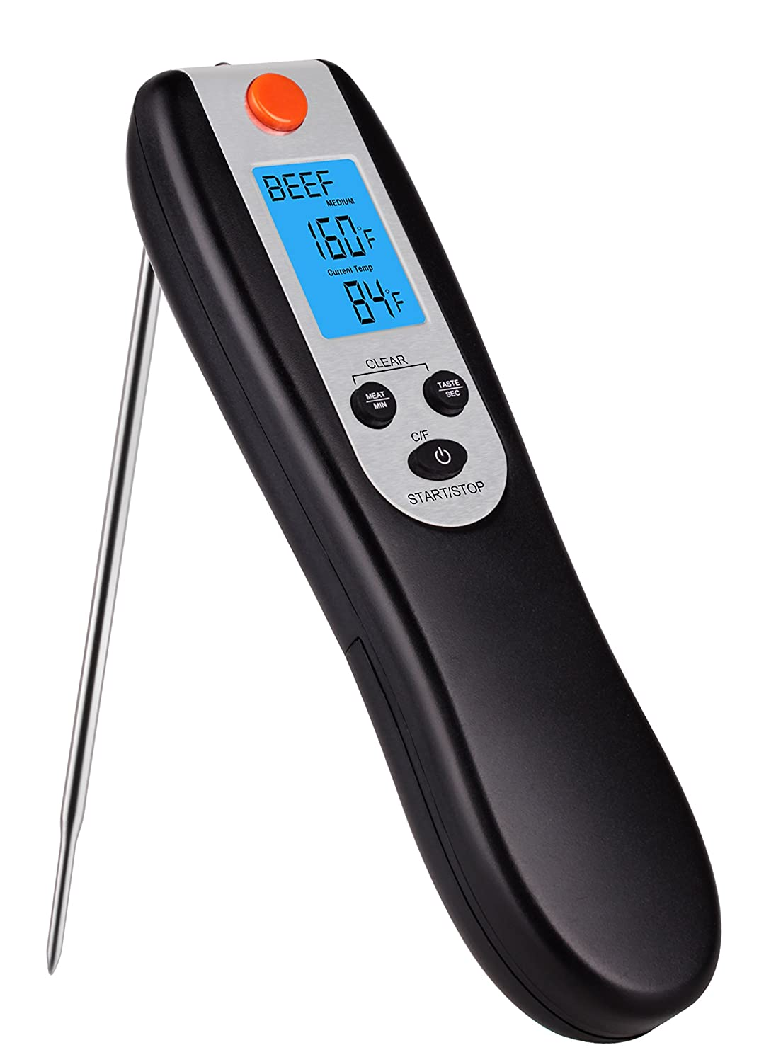 HEYFIT Kitchen Instant Read Digital Grill Cooking Food Thermometer, 5.4 Inch, Black&Silver