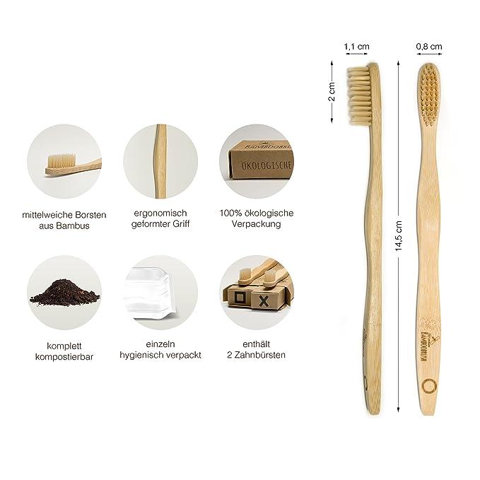 BeeClean bamboobrush Juego de 2 ecológica de mano Cepillos de Dientes para adultos y niños. Vegan y 100% Sin plástico y PBA libre.