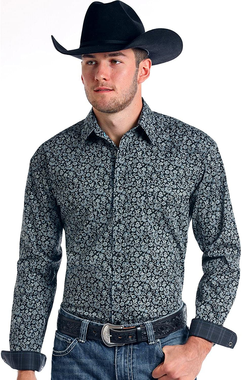 Panhandle Mens Rough Stock by Vintage Print Long Sleeve Snap Shirt Charcoal X-Large