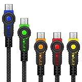 Volutz micro usb ケーブル 5パック(3m+2m+1m×3)急速充電 同期 ナイロンジャケット&高耐久マイクロusbケーブルアンドロイドデバイス, Huawei , ASUS, SHARP, 富士通, サムソン, Google Nexus, HTC,ソニーその他対応- Equilibrium Series