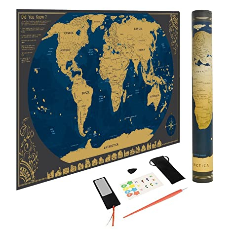 Amazon scratch world map poster with us states bonus scenic scratch world map poster with us states bonus scenic spot wall stickers and map mailing gumiabroncs Gallery