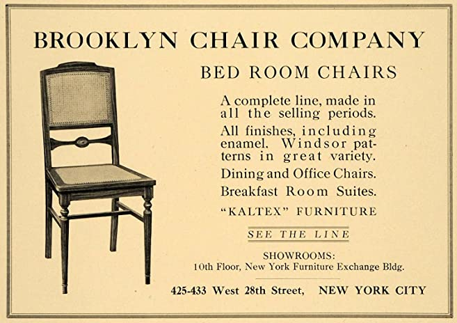 1921 Ad Brooklyn Chair Co. Bedroom Furniture Home Decor   Original Print Ad