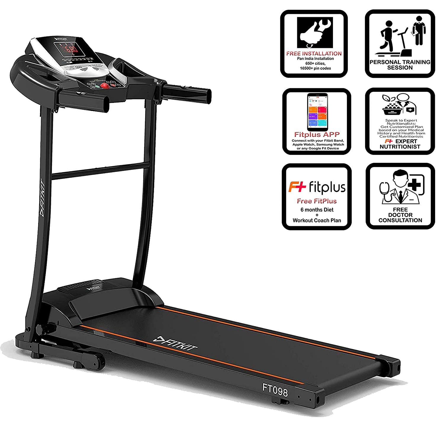 Fitkit FT098 Series (2 HP Peak) Motorized Treadmill with Free Dietitian
