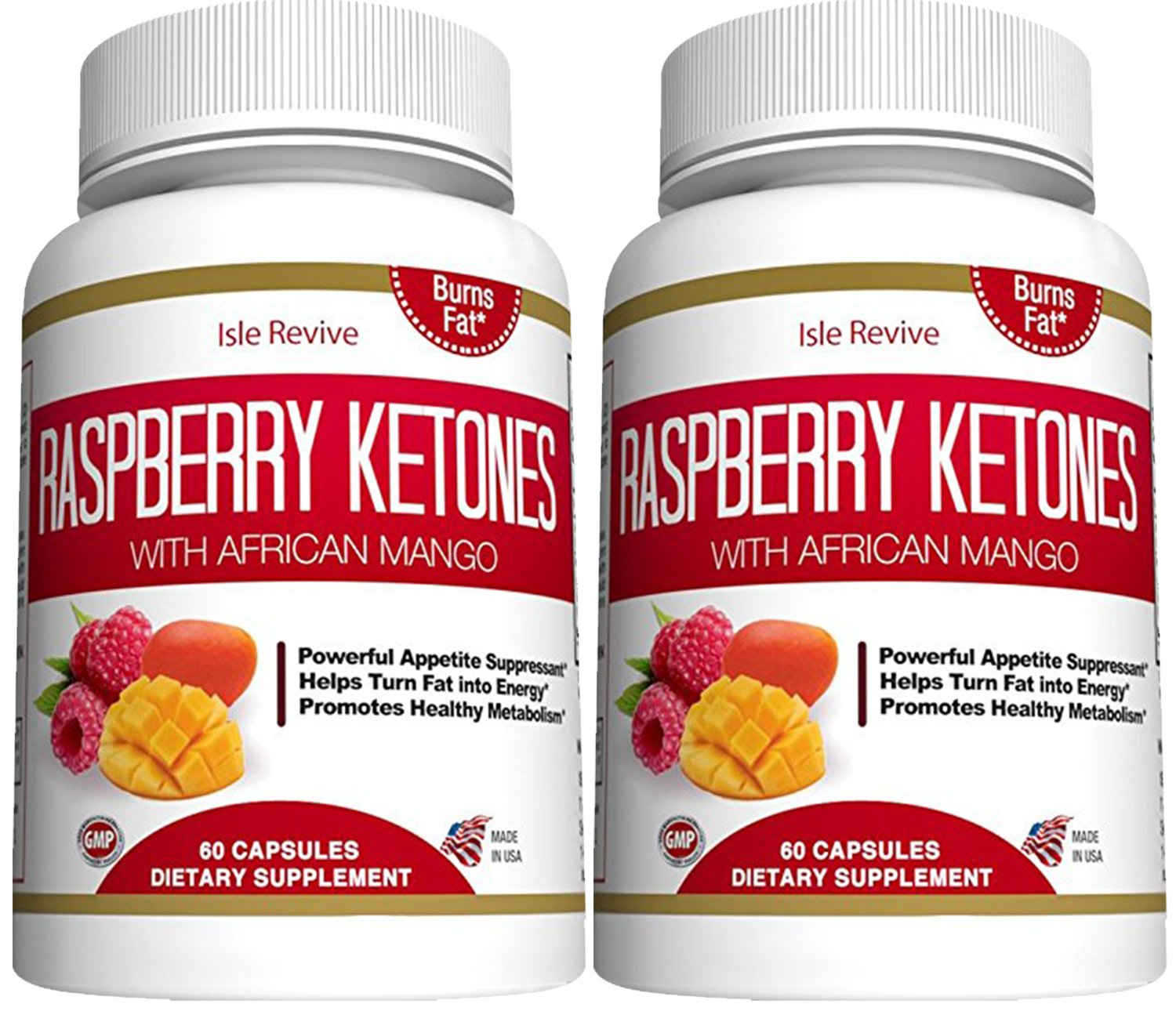 Raspberry Ketones Weight Loss Supplement - African Mango Green Tea Extract - Natural Thermogenic Fat Burner Promotes Appetite Control, Boosts Energy and Metabolism, 2 Bottles 60 Veggie Capsules