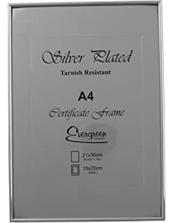 evergreen tarnish resistant silver plated thin edge frame a4 certificate