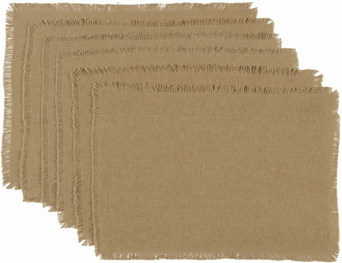 VHC Brands Classic Country Farmhouse Tabletop & Kitchen-Burlap Natural Tan  Fringed Placemat Set of 6, 12\