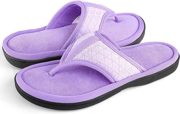 Wishcotton Adjustable Memory Foam Flip Flip Slippers Cozy Thong House Shoes