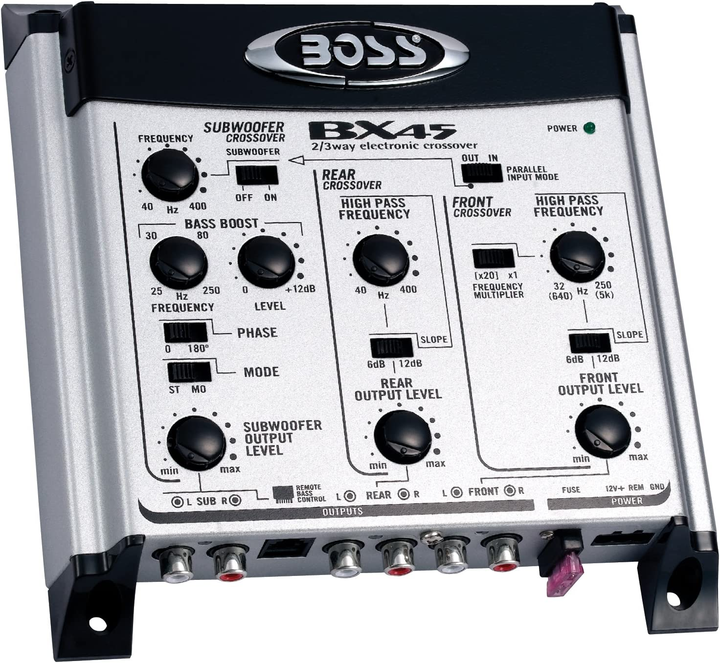 Boss Audio Systems Bx45 2 3 Way Pre-amp Car Electronic Crossover - Variable High Pass Filter 40 Hz - 8 Khz Selectable Crossover Slopes, Selectable Phase Maximum Input Voltage 4.5 Volts, SILVER AND BLACK