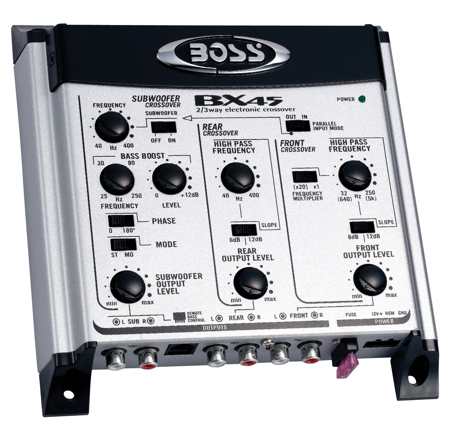 Boss Audio Bx45 2/3 Way Pre-amp Car Electronic Crossover Remote Subwoofer Control Variable High Pass Filter 40 Hz - 8 Khz Selectable Crossover Slopes, Selectable Phase Maximum Input Voltage 4.5 Volts