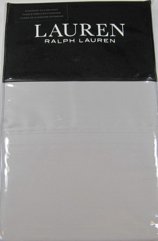 Ralph Lauren Dunham Sateen Standard Pillowcases- 2 Pk. Opal Grey 300 Thread Count 100% Cotton-