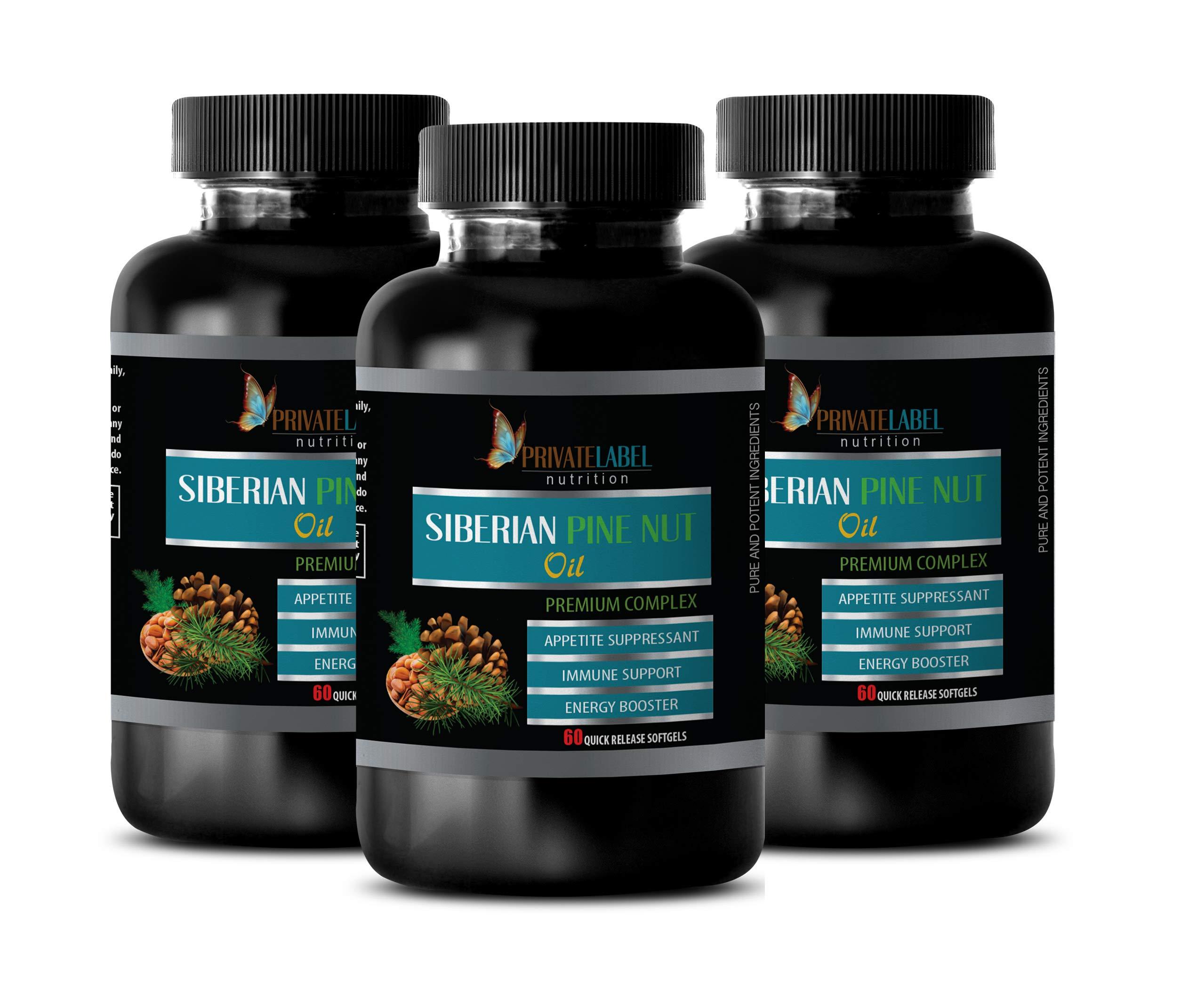 Brain Health Formula - Siberian Pine NUT Oil - Premium Complex - Eye Vision Supplement - 3 Bottles 180 Softgels