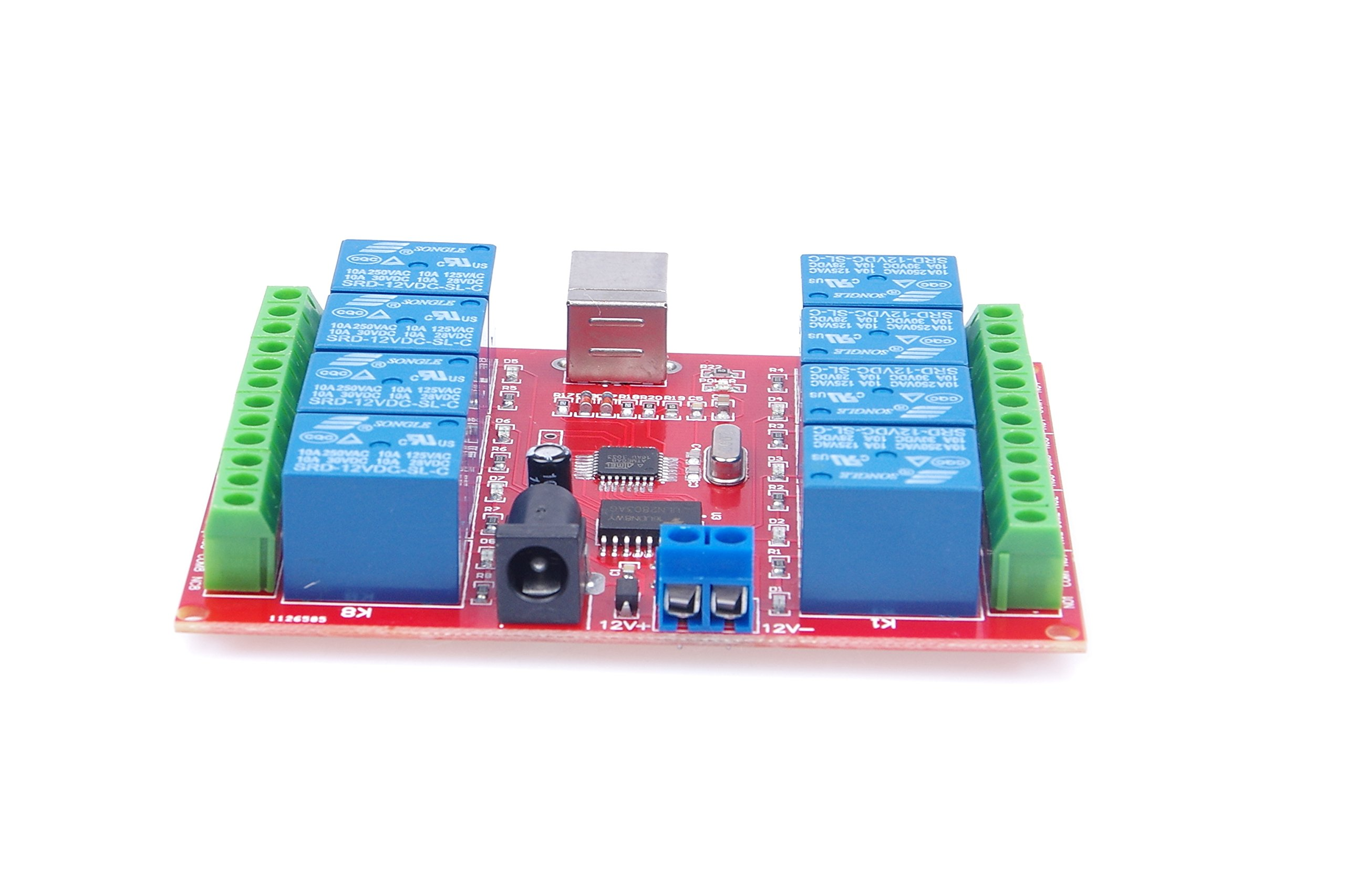 KNACRO 12v 8 Channel USB Relay Module Programmable Computer Control