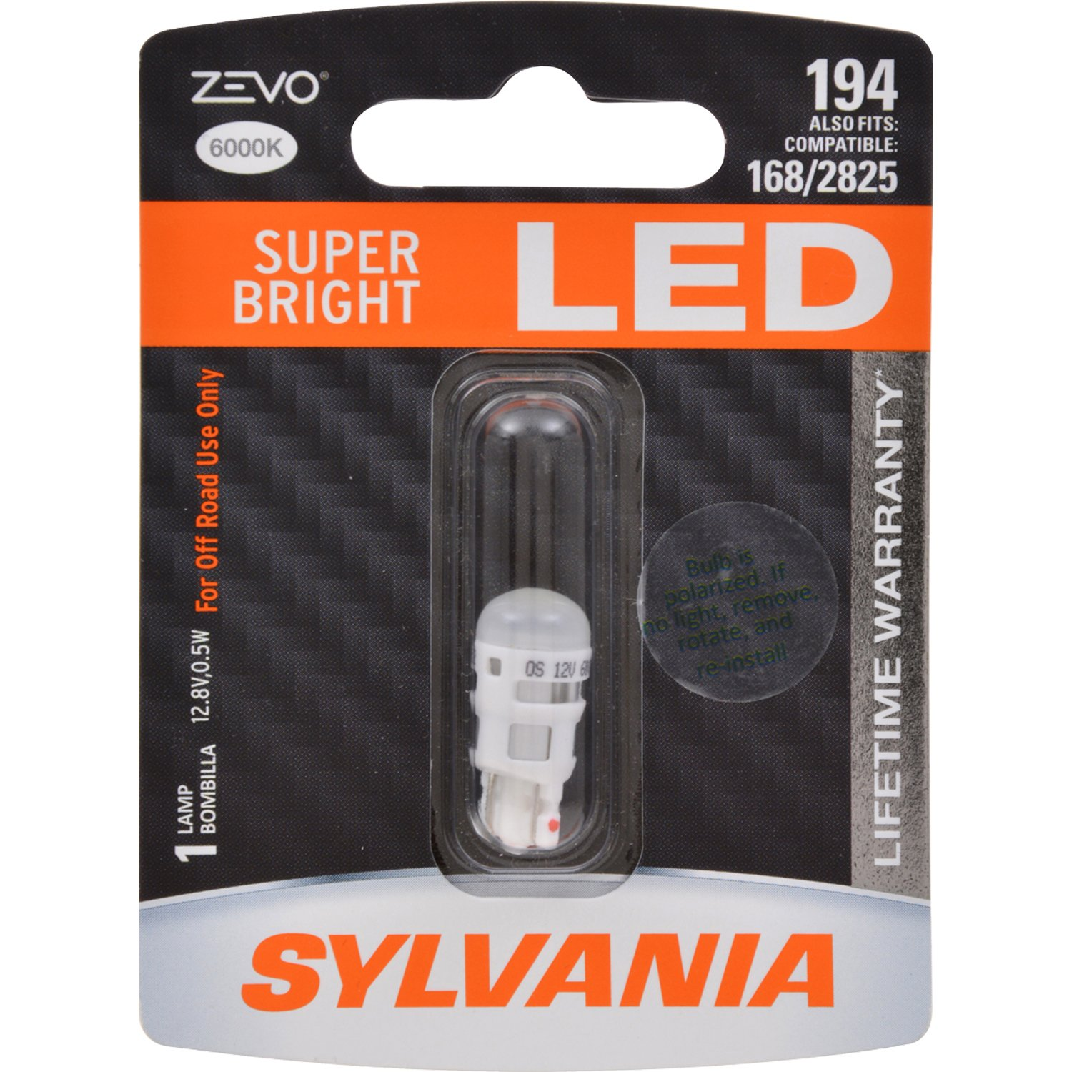 SYLVANIA - 194 T10 W5W ZEVO LED White Bulb - Bright LED Bulb, Ideal for Interior Lighting - Map, Dome, Trunk, Cargo and License Plate (Contains 1 Bulb) 194LED.BP