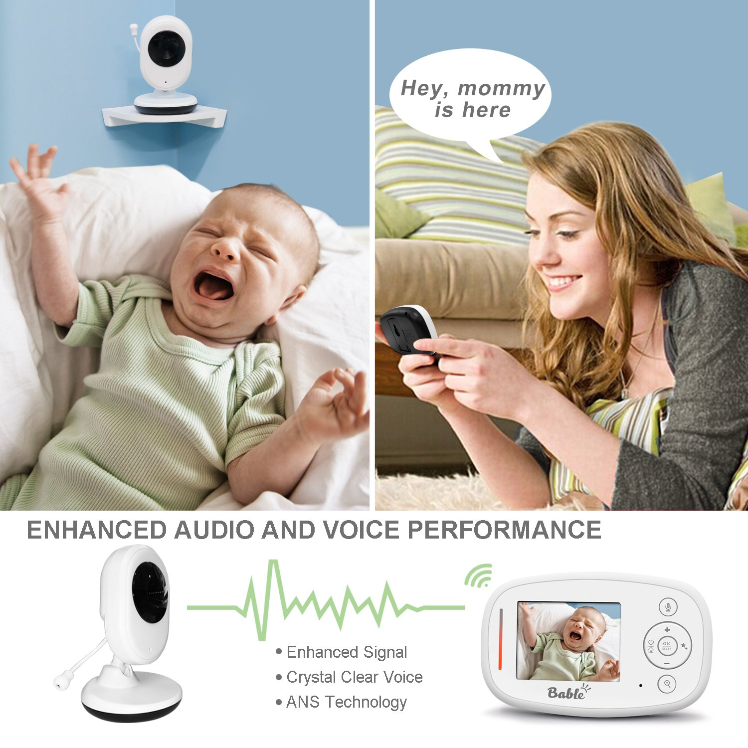 Two Way Talk Bable Baby Monitor X1-Plus with Delay-Free Technology and TFT LCD Screen Infrared Night Vision 2.4GHz Baby Monitor with Camera