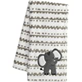 Lambs & Ivy Jungle Safari White/Tan Plush Minky Elephant Nursery Baby Blanket