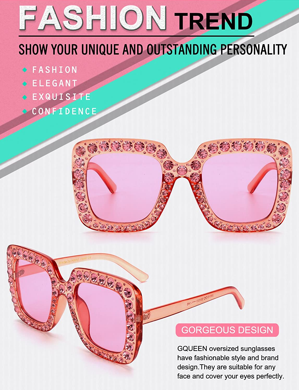 GQUEEN pr/ésente des lunettes larges de femmes /à cadre carr/é lunettes de Soleil /étincelant de marque Fahsion Shades S063