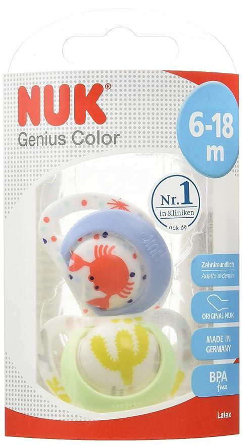 Chupete NUK 10172082 Genius Color de látex Toothfriendly, forma de ortodoncia, BPA, 6-18 meses, tamaño 2, colores surtidos