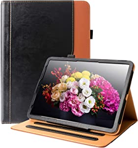 """iPad Pro 11 Case 2018 HLHGR Premium Leather Smart Case Multiple Viewing Angles Stand Folio Cover with Auto Wake/Sleep Pencil Holder and Card Pocket for iPad Pro 11"""" 2018 Release,Black/Brown"""